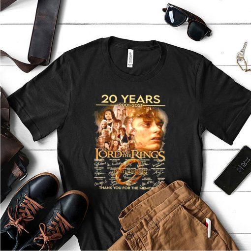 20 years 2001 2021 the lord of the rings thank you for the memories shirt