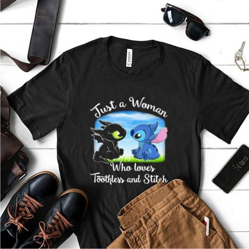 Just A Woman Who Loves Toothless And Stitch Shirt 3