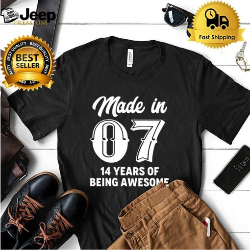 Fourteen Year Old 14th Birthday Awesome Born In 2007 Gift shirt 5