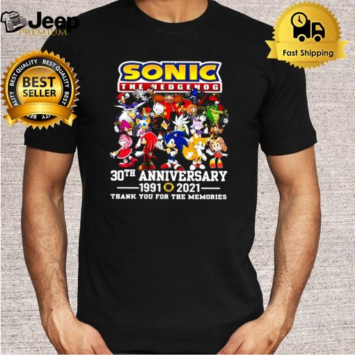 Sonic The Hedgehog 30th Anniversary 1991 2021 Thank You For The Memories T shirt