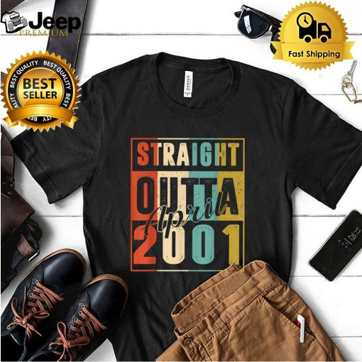 Straight Outta April 2001 Retro 20 Years Old 20th Birthday T Shirt