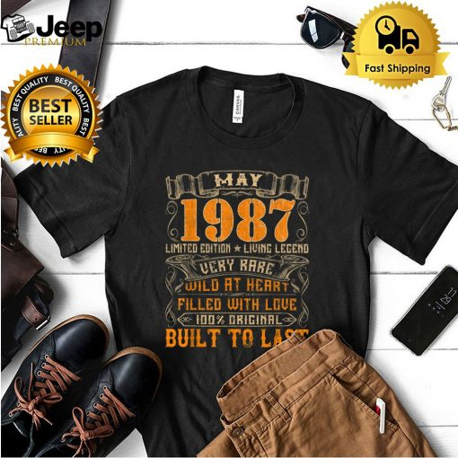 Vintage 1987 May Shirt 34 Years Old 34th Birthday Gifts T Shirt