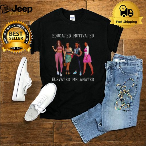 Educated Motivated Melanin African American Black Queen T shirt