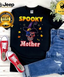 One Spooky Mother Halloween Skull America Flag Scary Witch hoodie, tank top, sweater