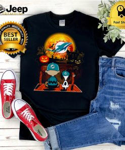 Snoopy and Charlie Brown Pumpkin Miami Dolphins Jackets Halloween Moon shirt
