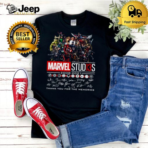 Avengers Marvel Studios 2008 2021 Signature Thank You For The Memories T shirt