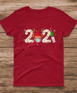 Official Christmas Reindeer 2021 With Mask Funny Merry Xmas Outfit T Shirt