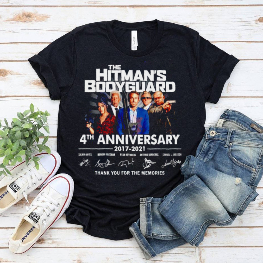 the Hitmans Bodyguard 4th anniversary 2017 2021 thank you for the memories signatures shirt