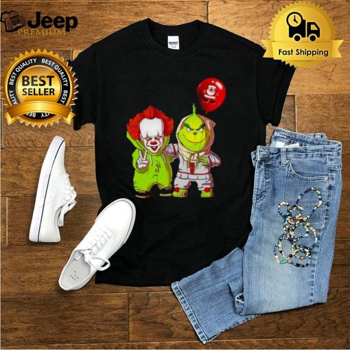 Baby Pennywise And Baby Grinch Merry Christmas Shirt